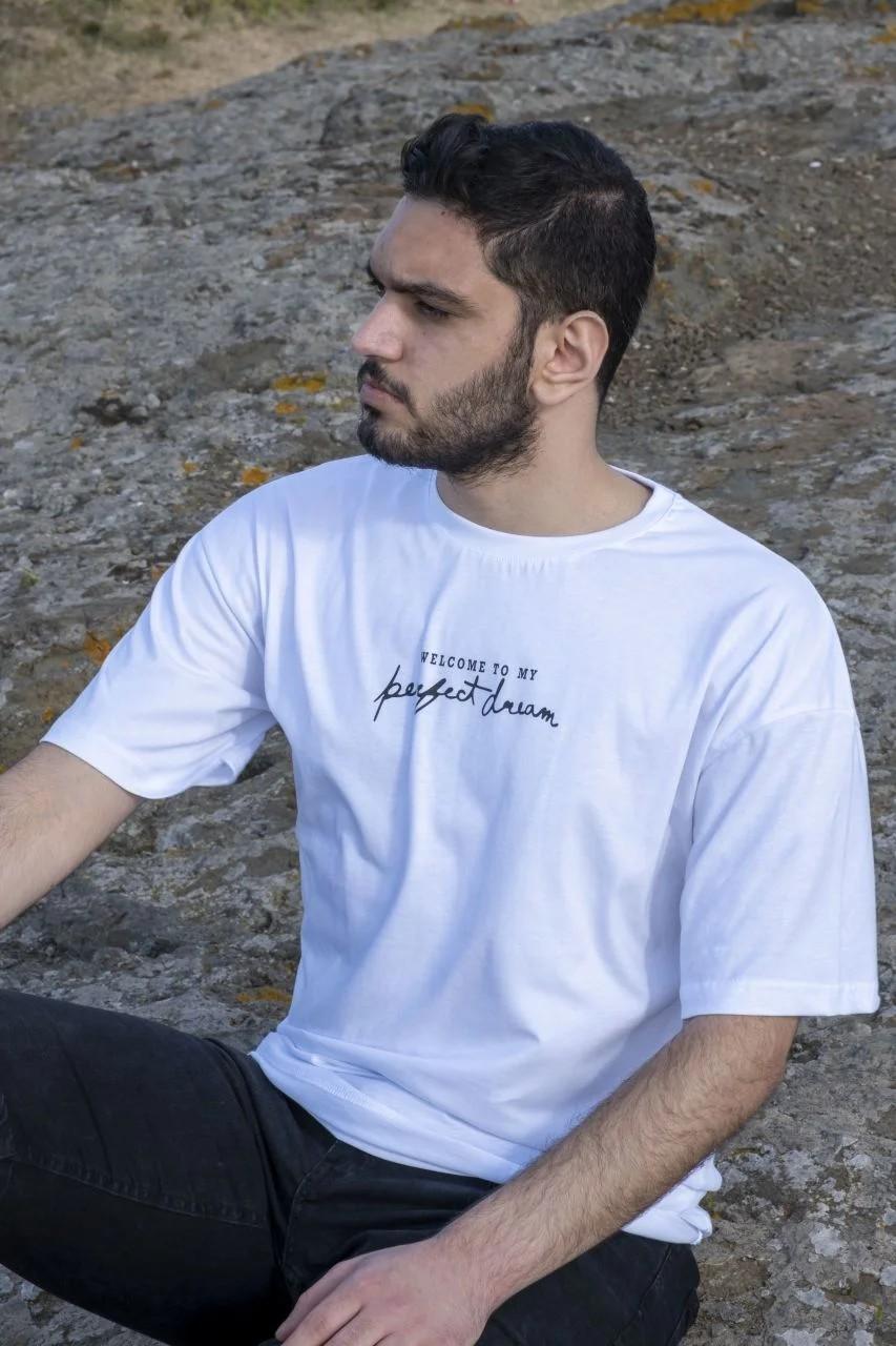 My Perfect Dream Oversize Erkek Beyaz T-Shirt