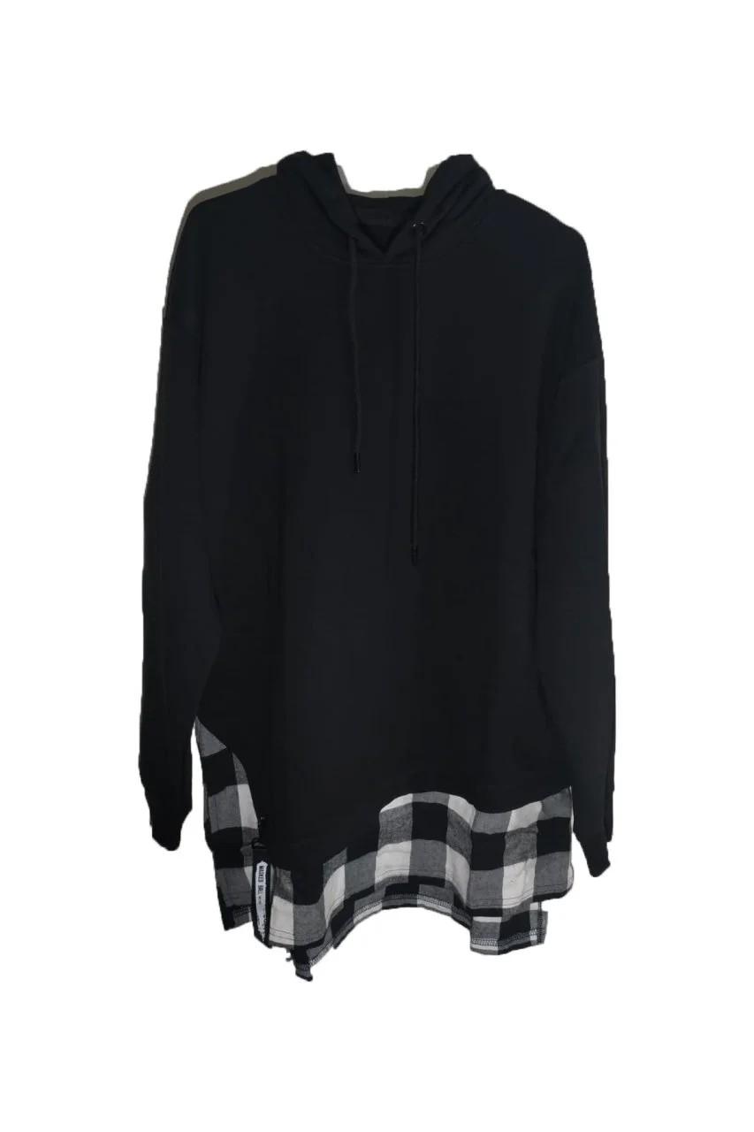 Kapşonlu Gömlekli Siyah Oversize Sweatshirt