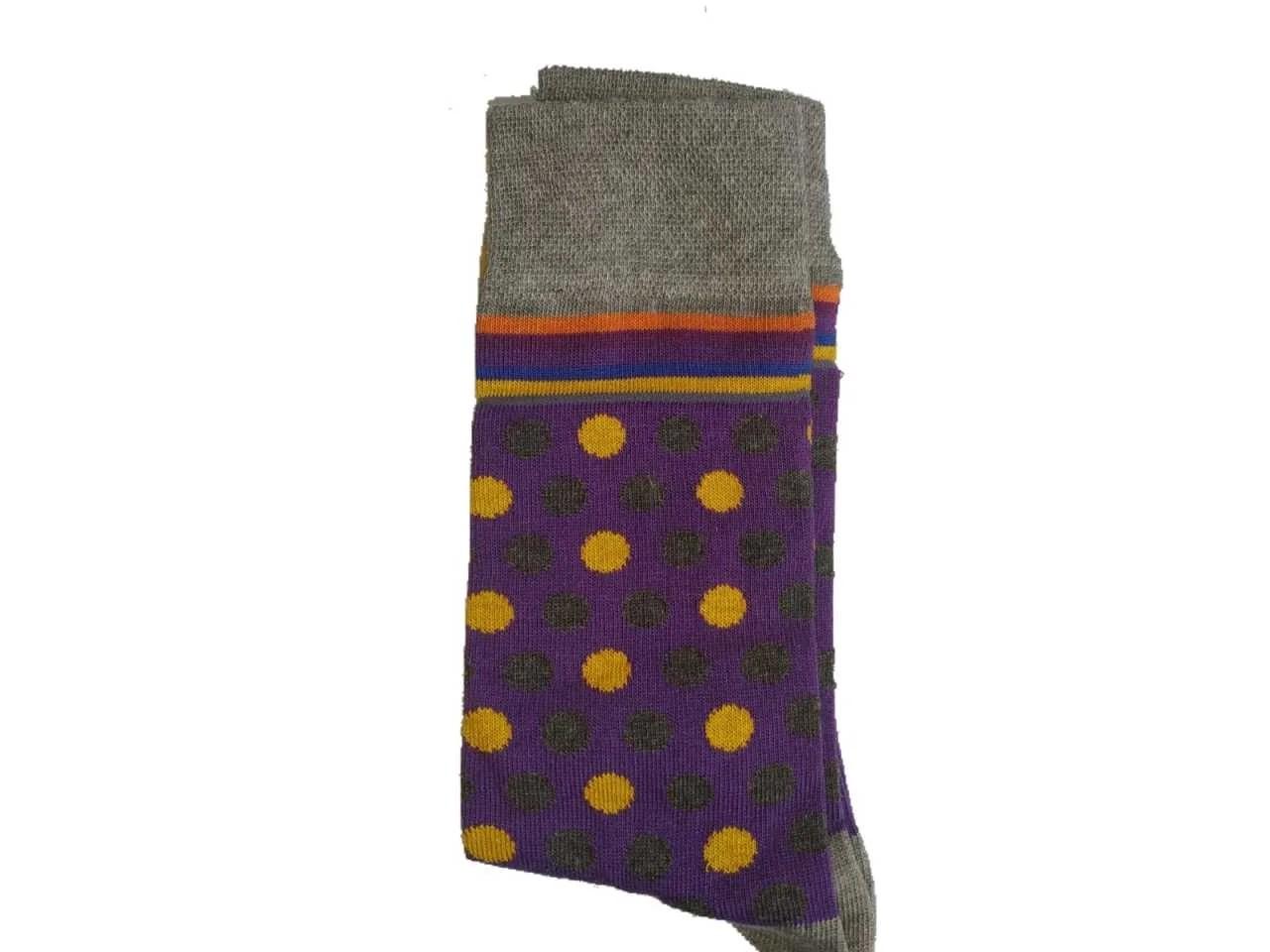 Uzun Mor Sarı-Siyah Noktalı Çorap