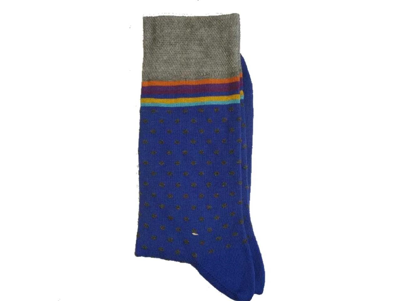 Uzun Mavi Siyah Noktalı Çorap