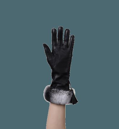 Pelliccia Gerçek Kürklü Kadın Deri Eldiven (Siyah)