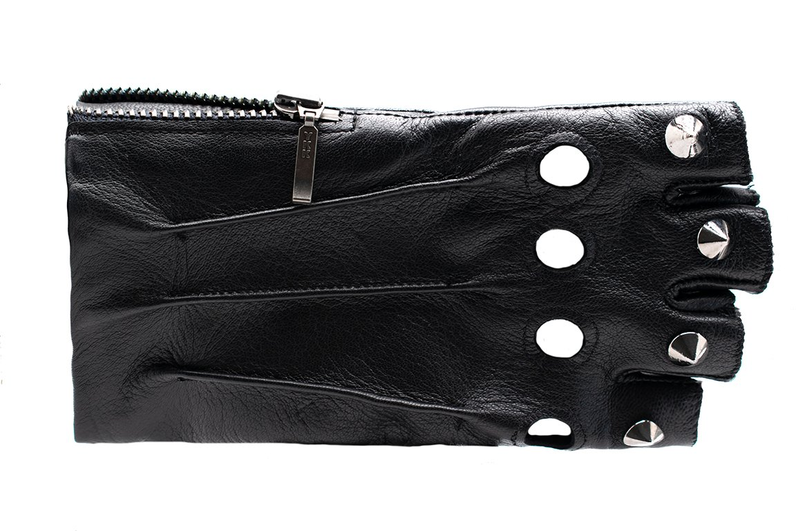 Ferro Zımbalı Parmaksız Kadın Deri Sürücü Eldiven (Siyah)