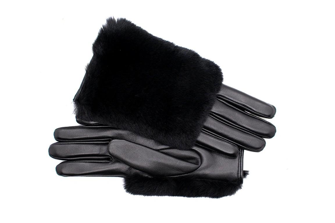 Fourrure Gerçek Kürklü Kadın Deri Eldiven (Siyah)