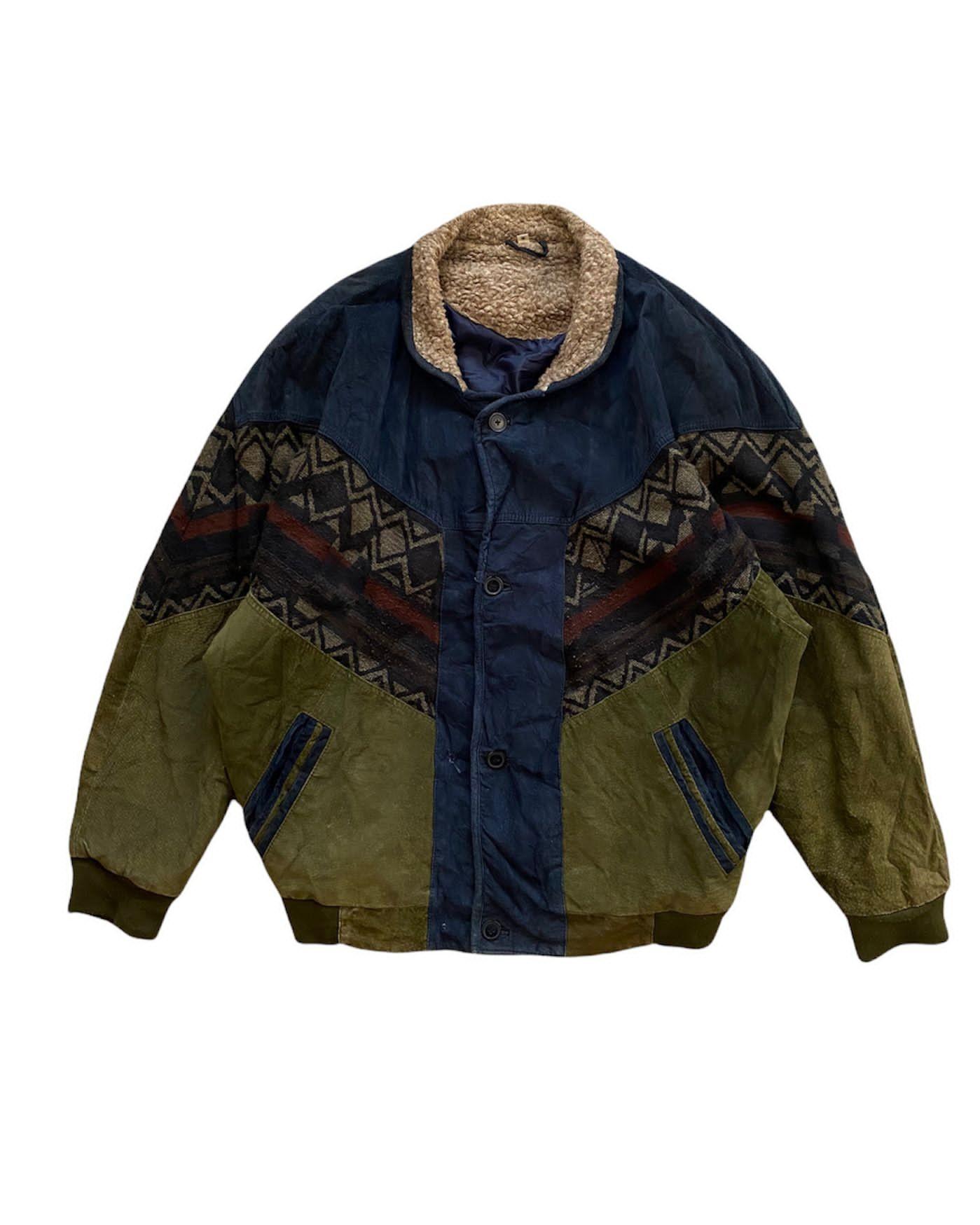 90's Vintage Orijinal Yeşil Aztek Mont (XL)