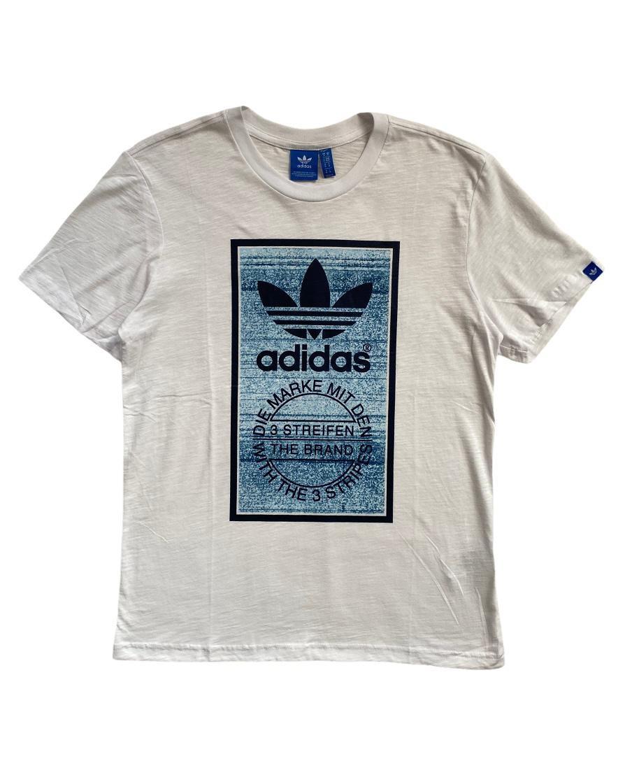 A. Brand Three Stripes White T Shirt