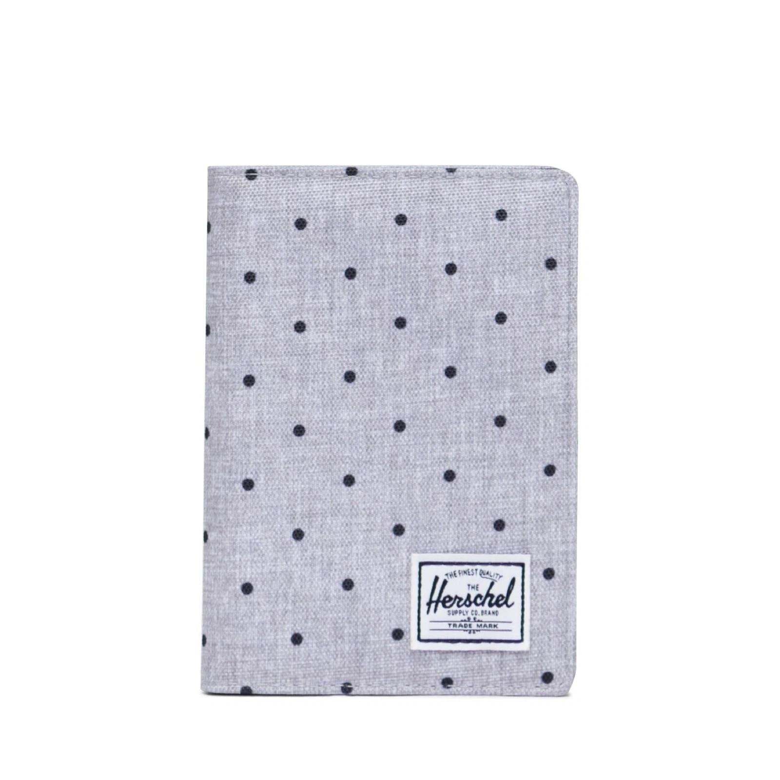 Herschel Raynor Passport Holder RFID Polka Dot Crosshatch Grey/Black