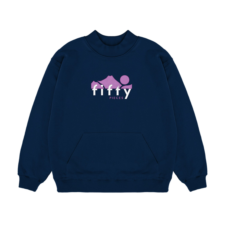 Dik Yaka Kanguru Cepli Kadın Sweatshirt Lacivert